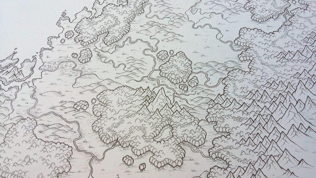 Среди карт были старые картинки, переданные старым хранителем карт. Рассматривая эти картинки, он заметил, что они напоминают карты охотников. Речка на картинках старого хранителя карт изгибалась так же, как и линия на карте одного из охотников. На изгибе вместо точки, обозначающей скалу, была изображена скала.